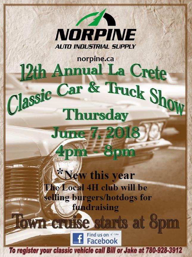 12th Annual La Crete C;assic Car & Truck Show