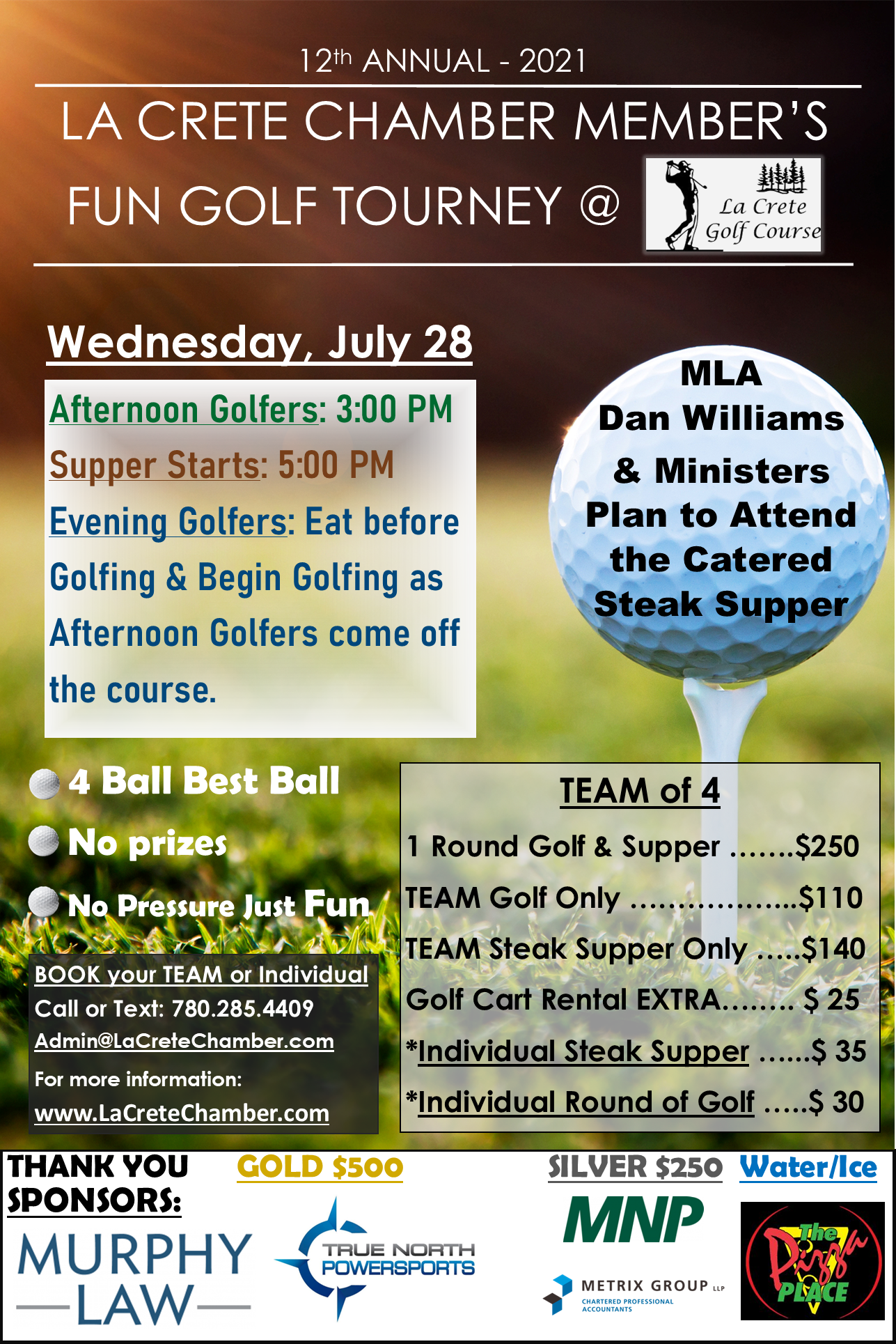 2021 Golf Tourney Poster..