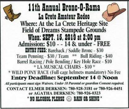 Bronc-O-Rama Sunday, September 15, 2019