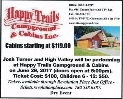 Happy Trails Campground High Valley-Josh Turner Concert June 29, 2017