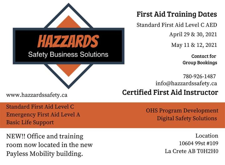 Hazzards Safety-April Schedule