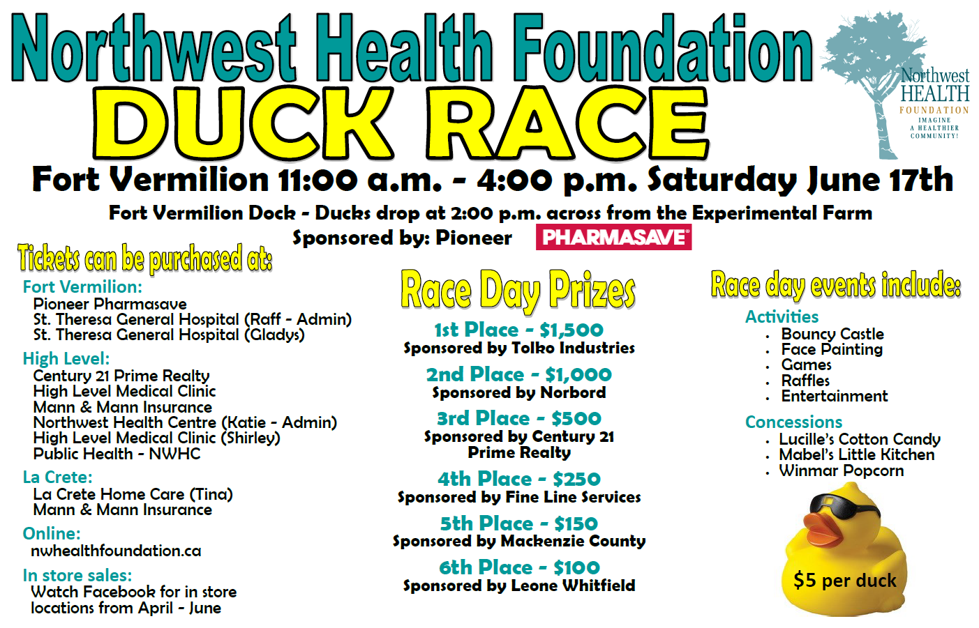 NW Health Foundation Duck Race Fort Vermilion