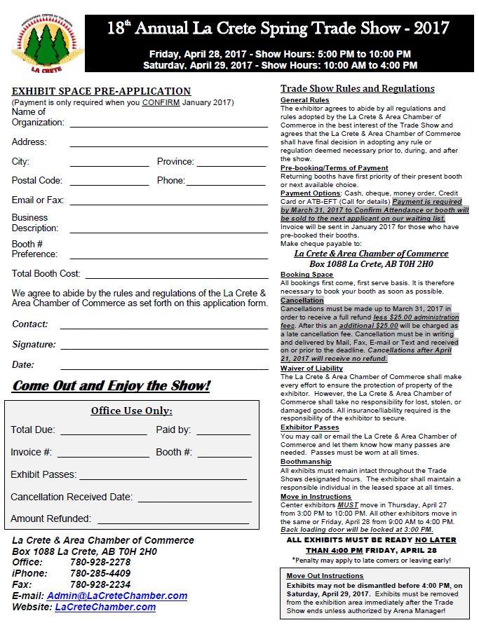 2017 trade Show Application Form