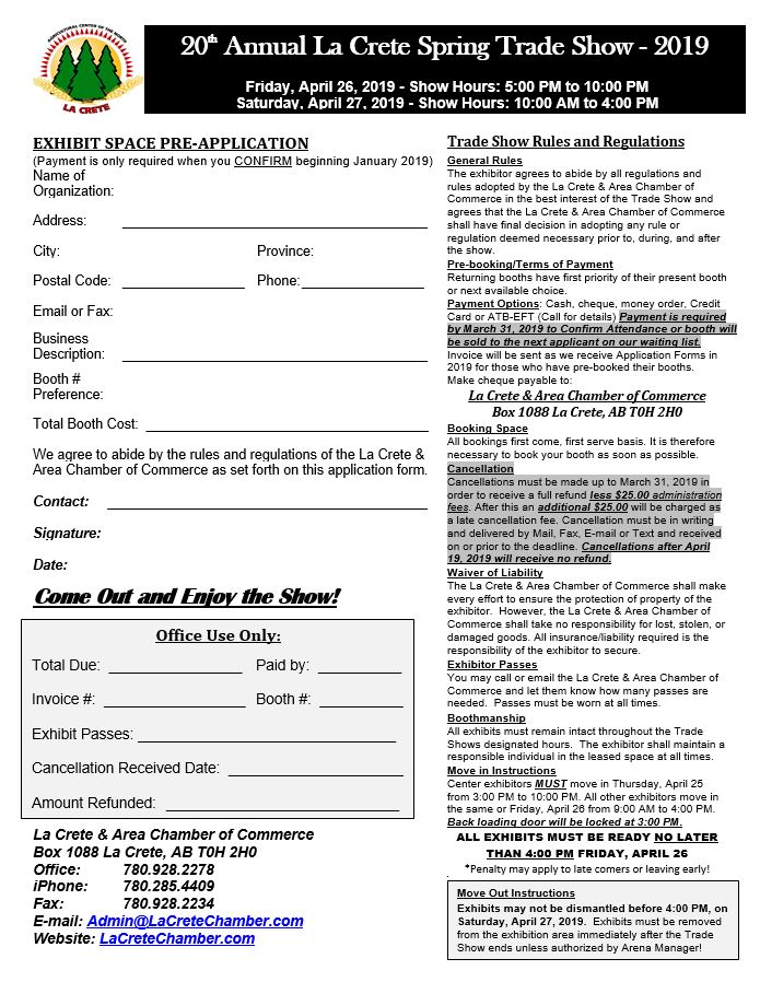 2019 Trade Show Exhibitors Application