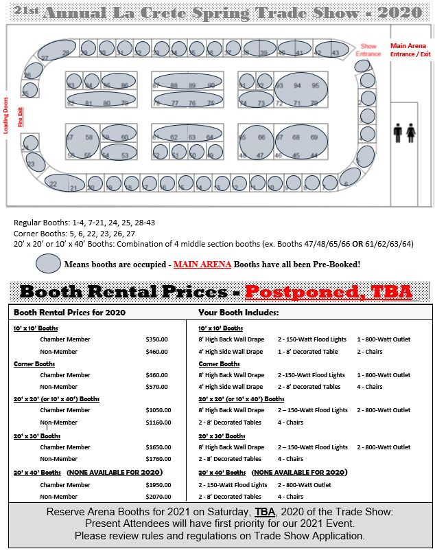 2020 Trade Show Main Arena Pricing