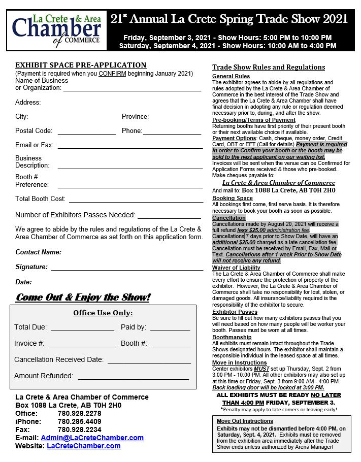 2021 Fall-Trade Show Application Form
