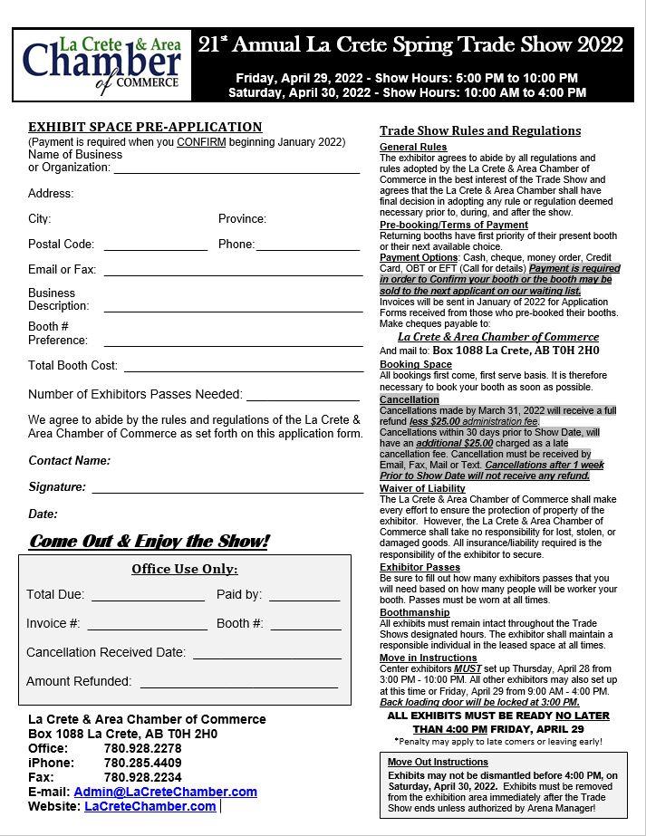 2022 Trade Show Application Form