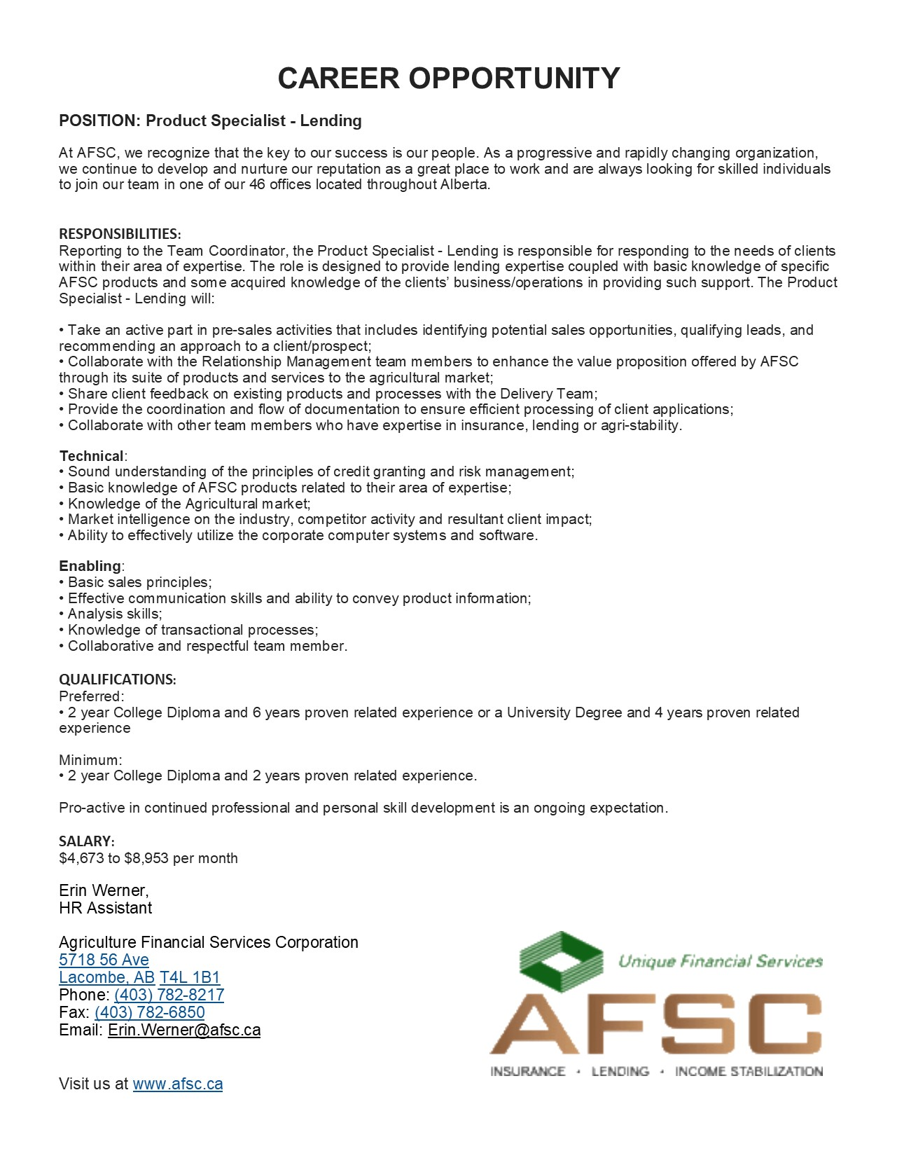 AFSC Product Specialist