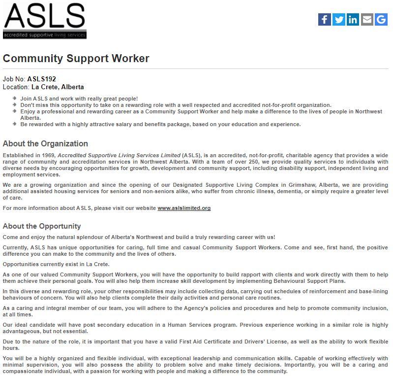 ASLS Community Support Worker