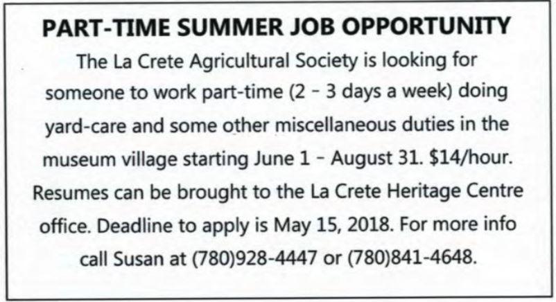 Ag Society Summer Job