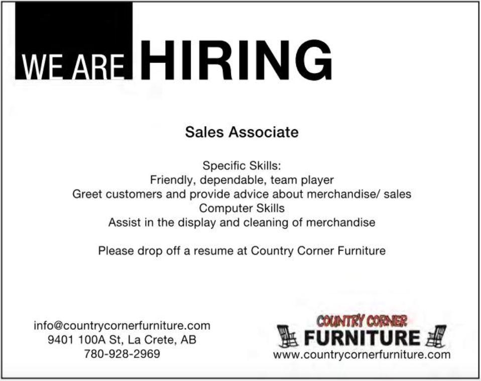 BDB Aug 16-Country Corner Furniture-Sales