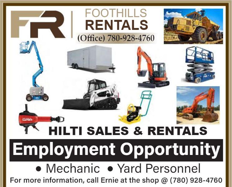 BDB Aug.1-Foothills Rentals-Mechanic-Yard Personnel