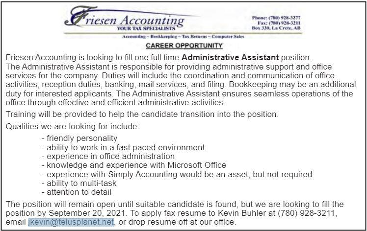 BDB Aug.1-Friesen Accounting-Admin Ast.
