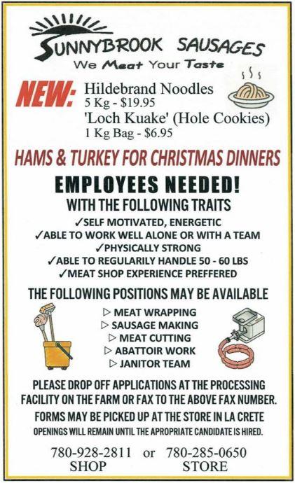 BDB Dec 1-Sunny Brook Sausages-Labourers
