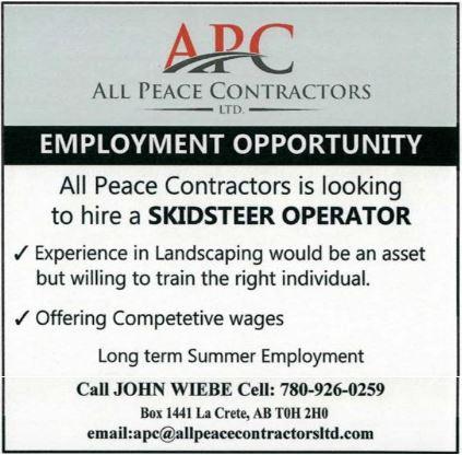 BDB Feb 16, 2020-All Peace Contractors-Skidsteer Operator