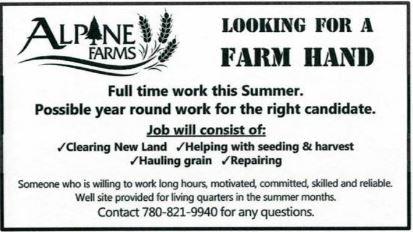BDB Feb 16, 2020-Alpine Farms-FT Summer Farm Hand