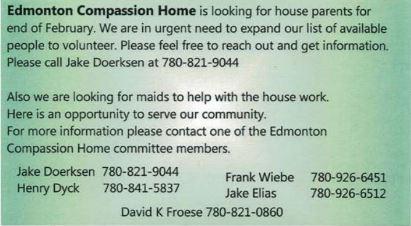 BDB Feb 16, 2020-Edmonton Compassion Home-House Parents