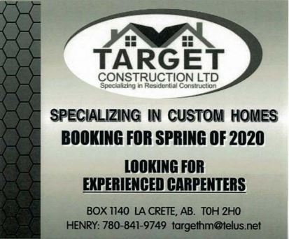BDB Feb 16, 2020-Target Construction-Experienced Carpenters