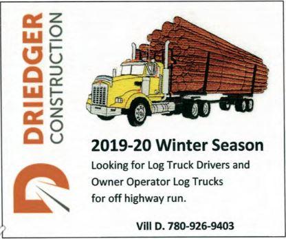 BDB Jan 1-Driedger Construction-Log Truck Drivers-Owner Operator Log Trucks...