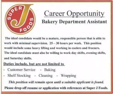 BDB June 1, 2017-Job Ad-Super J Foods-Bakery Department Assistant