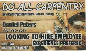 BDB March 1, 2020-Do All Carpentry-Experienced Employee