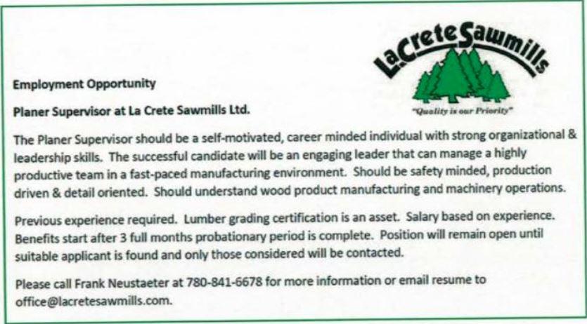 BDB March 1, 2020-La Crete Sawmills-Planner Supervisor