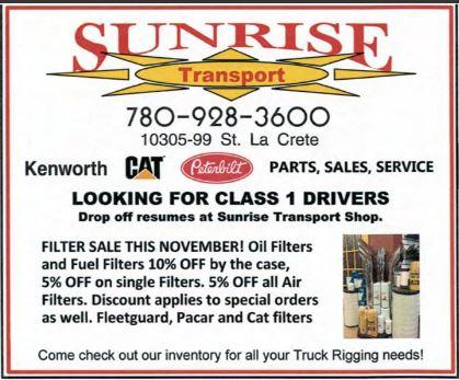 BDB Nov 16-Sunrise Transport-Class 1 Drivers
