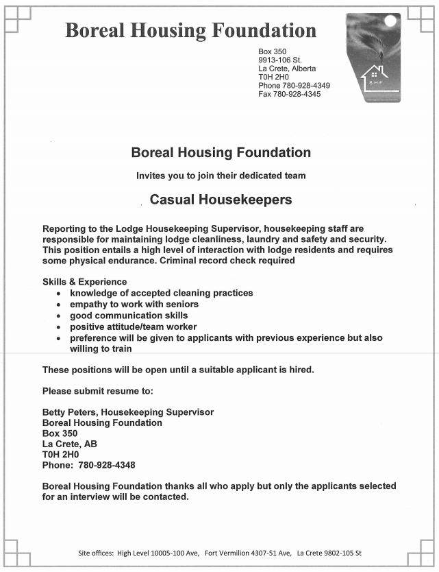 Boreal Housing Casual Housekeepers