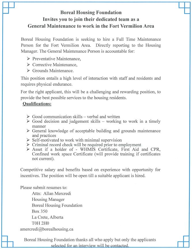 Boreal Housing Foundation-Maintenance Position-June 14, 2019