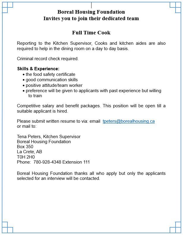 Boreal Housing - Full time Cook