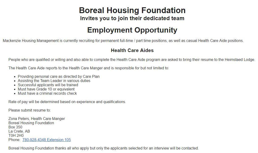 Boreal Housing Health Care Aide