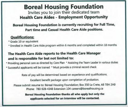 Boreal Housing Health Care Aides-BDB November 1, 2019