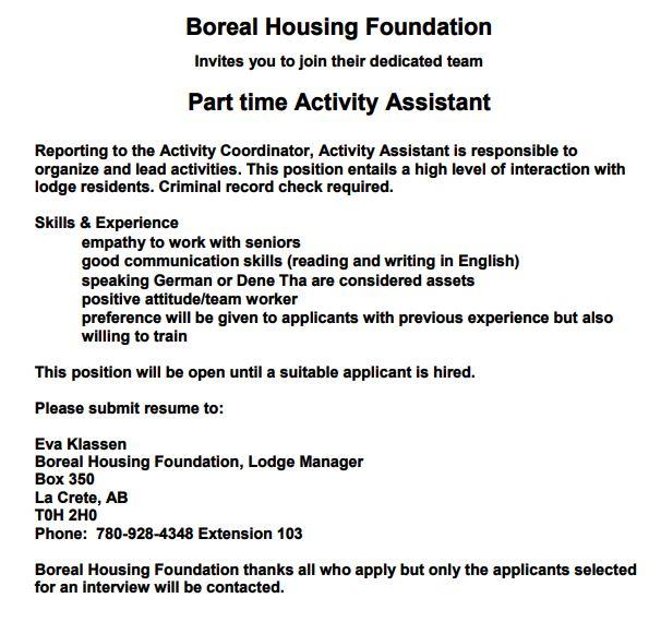 Boreal Housing Part Time Activity Assistant
