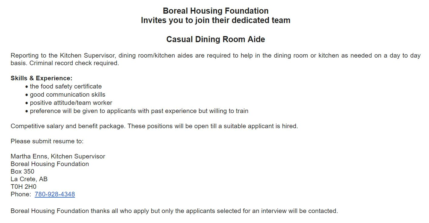 Casual Dining Room Aide