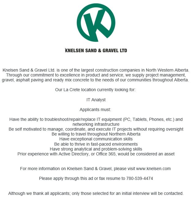 Email-Knelsen Sand & gravel-IT Analyst-May 27