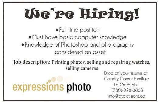 Employment Ad-Expressions Photo-October 11, 2017