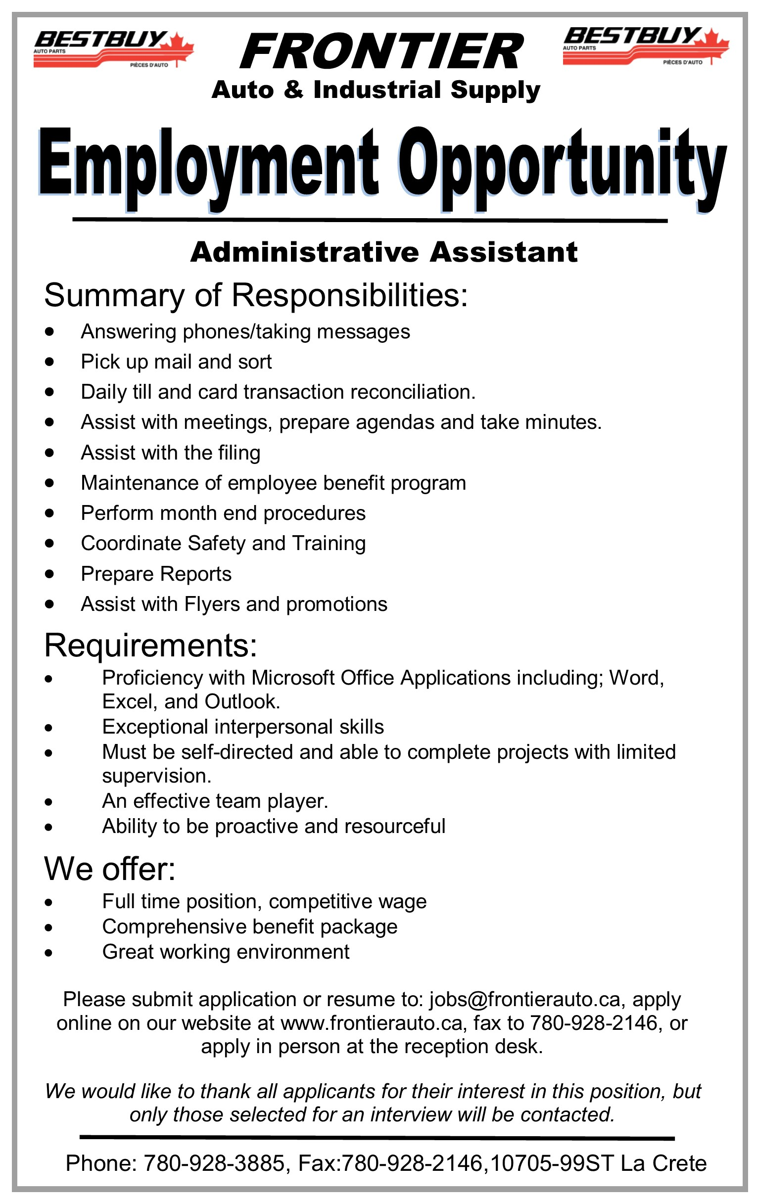 Employment Ad-Frontier Auto-Administrative Assistant-June 23, 2017