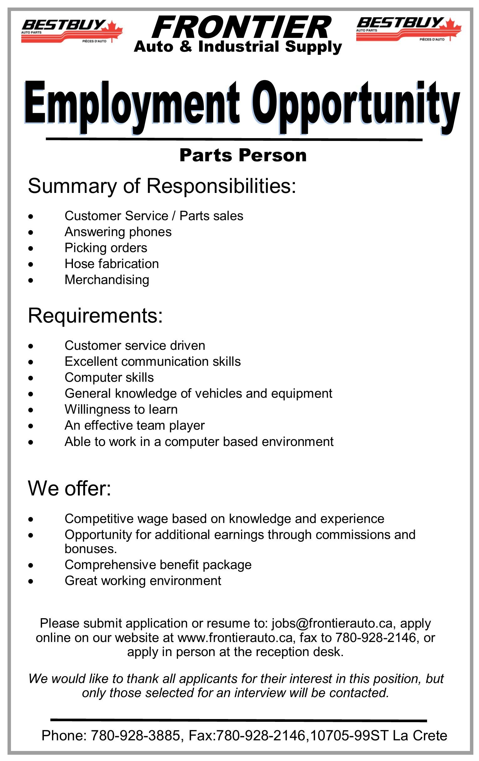 Employment Ad-Frontier Auto-Parts Person-June 23, 2017