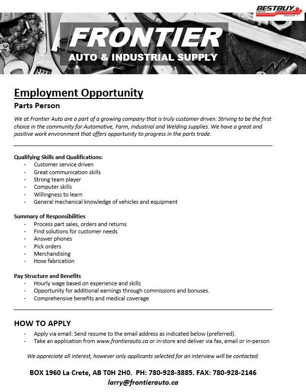 Employment Ad-Frontier Auto-Parts Person-May 22 - , 2019