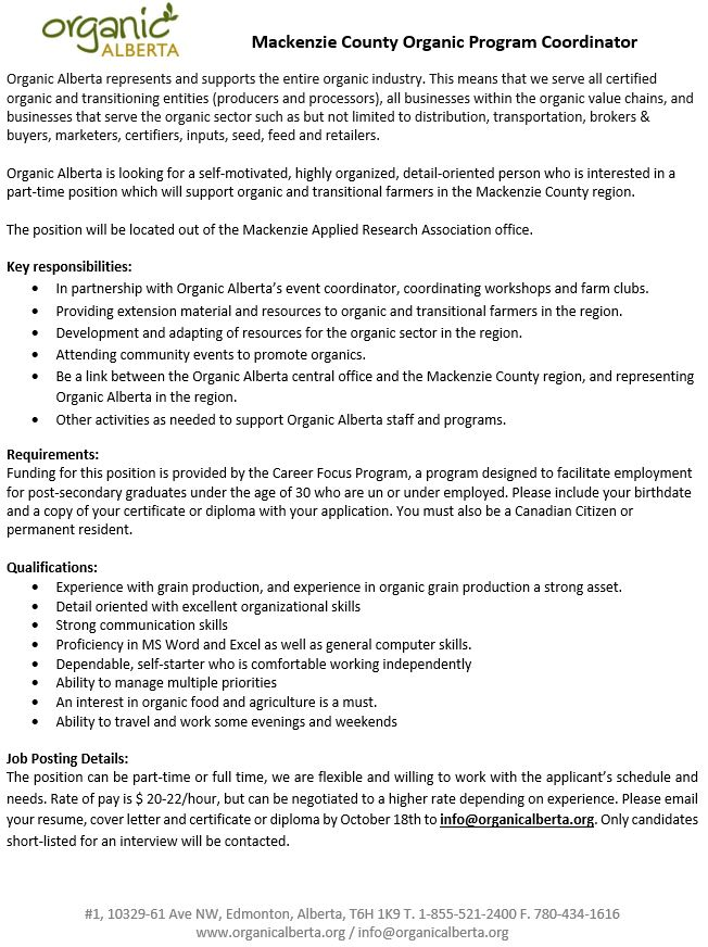Employment Ad-MC-Organic Alberta Coordinator-October 4, 2017