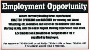 Employment opportunity Tractor