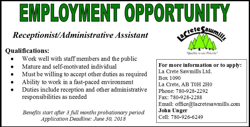 Emplyoment Ad-La Crete Sawmills Administrative Assistant