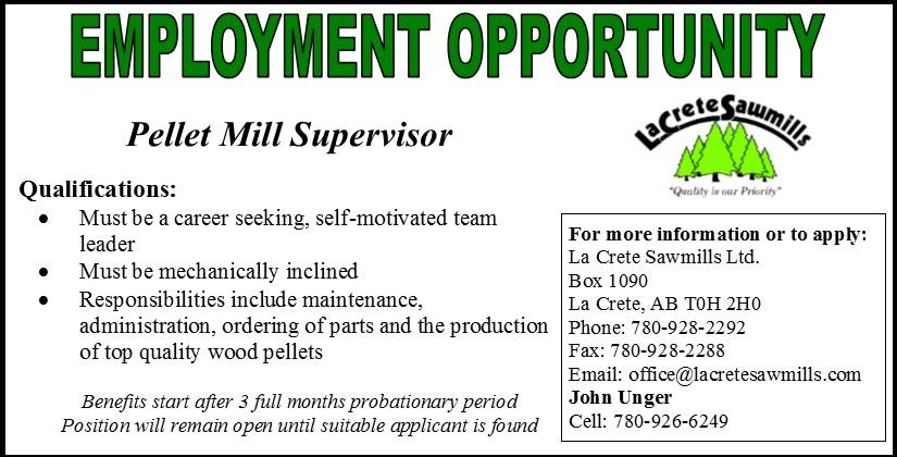Emplyoment Ad-La Crete Sawmills Pellet Mill Supervisor