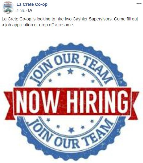 Facebook-June 15, 2020 La Crete Co-op-Cashier Supervisors