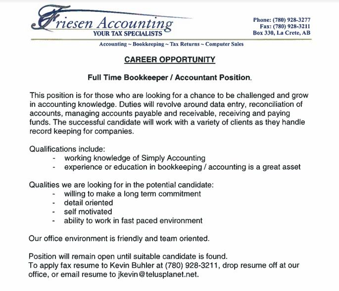 Friesens Accounting Bookkeeping