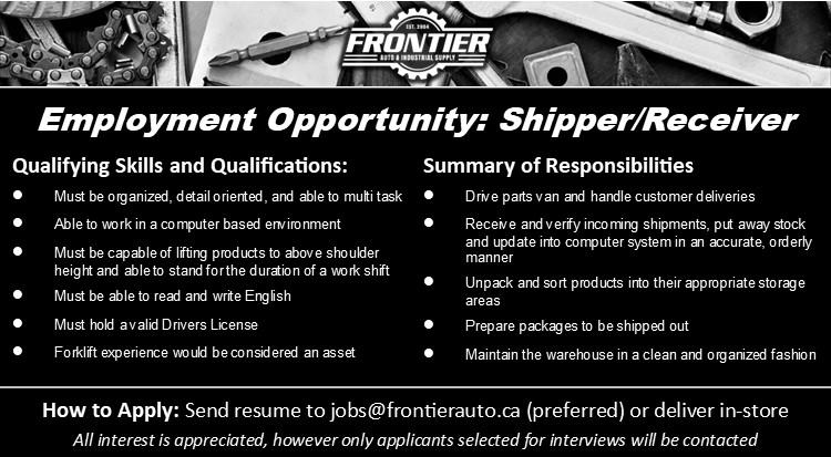 Frontier Auto-Shipper-Reciever & Delivery Driver