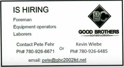 Good Brothers Construction-Foreman-Equipment Operators-laborers BDB July 16, 2019