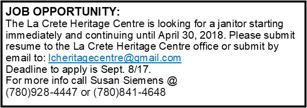 Heritage Centre Janitor
