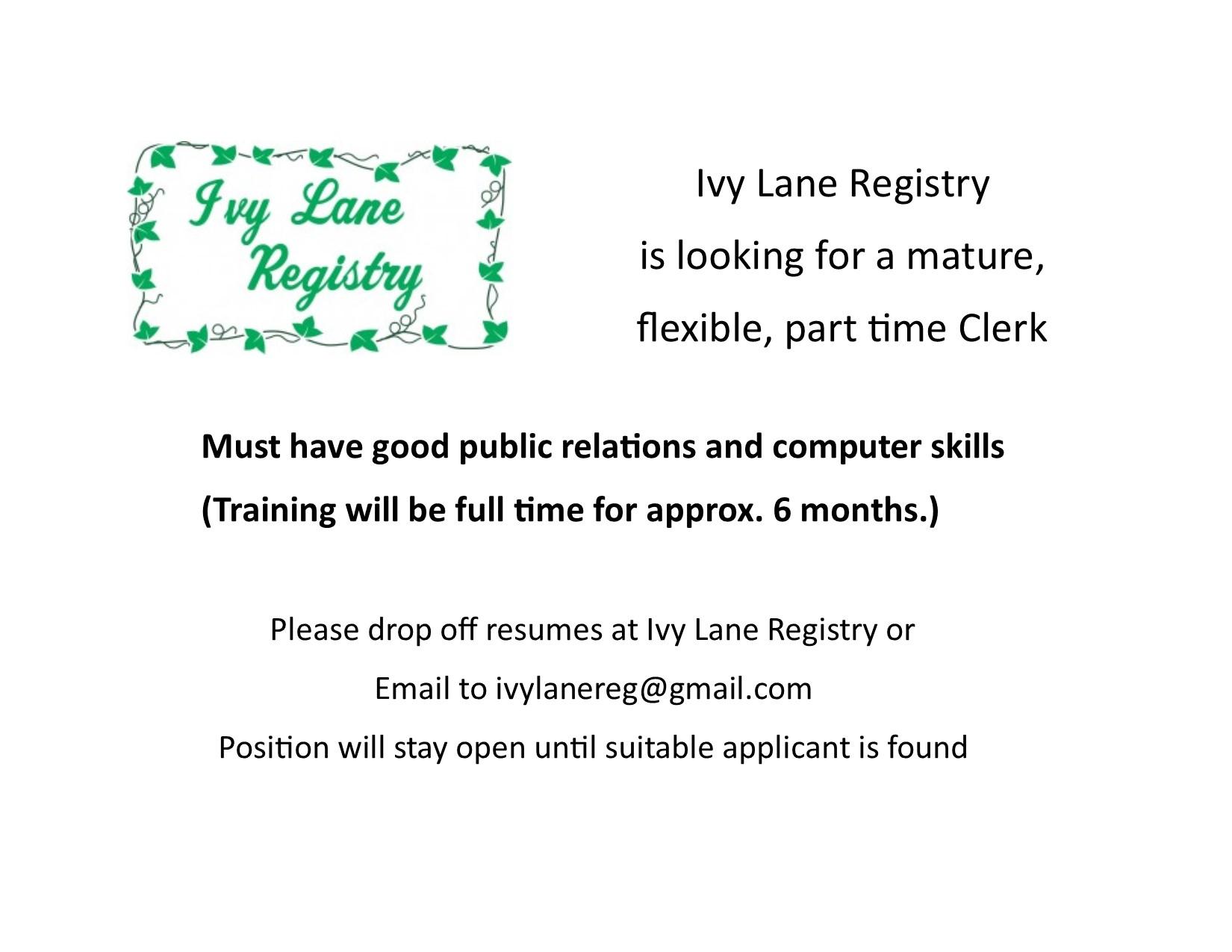 Ivy Lane Registry June 28 2018