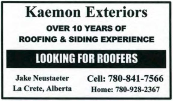 Kaemon Exteriors Roofers Wanted 2018